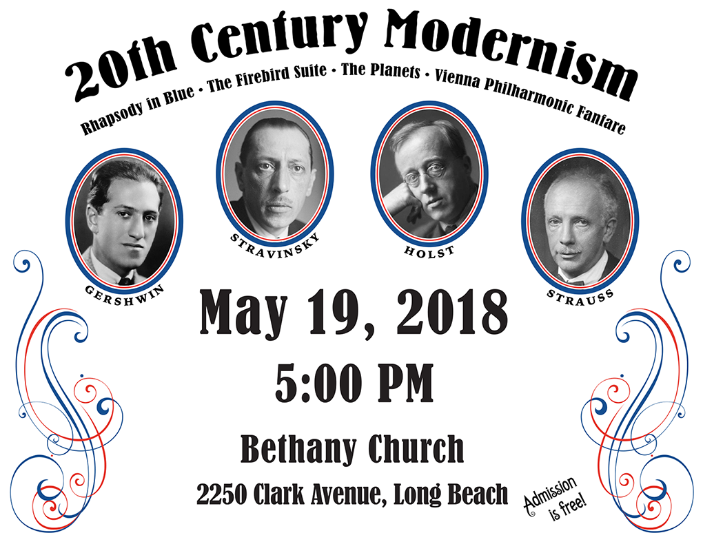 20th Century Modernism Concert May 19 at 5 PM